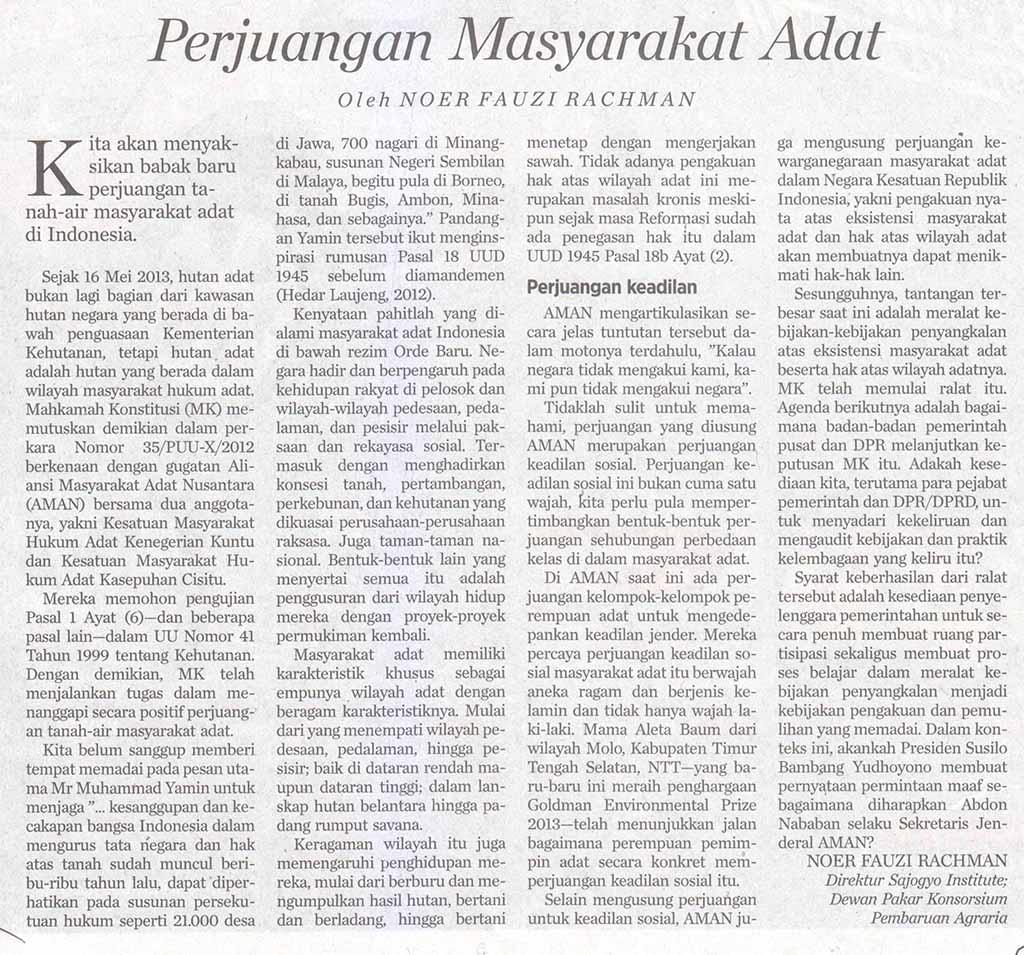 AMAN-Koran Kompas-20130529-Perjuangan Masyarakat Adat-Hal 6 Opini