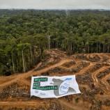 Aktivis organisasi lingkungan hidup Greenpeace membentangkan spanduk bertuliskan Head & Shoulders