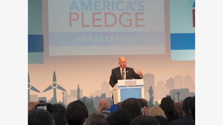 Gubernur California Jerry Brown berpidato di Paviliun Amerika Serikat pada pada Pertemuan Pertemuan Para Pihak (COP) Ke-23 Kerangka Kerja PBB tentang Konvensi Perubahan Iklim (UNFCCC) di Bonn, Jerman, Sabtu (11/11) siang. Bersama dengan mantan Walikota New York Michael Bloomberg, Brown menginisiasi gerakan America's Pledge yang tetap berkomitmen pada Kesepakatan Paris. Ini untuk merespons sikap Presiden Donald Trump yang justru menarik diri dari Kesepakatan Paris.berkomitmen pada Kesepakatan Paris. Ini untuk merespons sikap Presiden Donald Trump yang justru menarik diri dari Kesepakatan Paris.